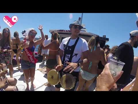Click to watch a video of BadCat playing live bongos on the Beautiful People Boat Party in Ibiza.