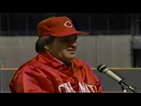 Pete Rose Returns To Cincinnati Reds - Press Conference 1984