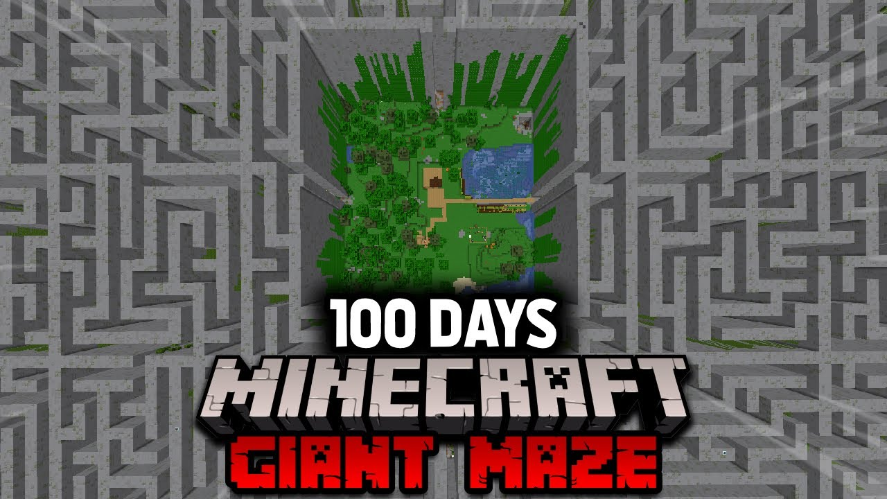 I Survived 100 Days In a Minecraft GIANT MAZE Heres what happened