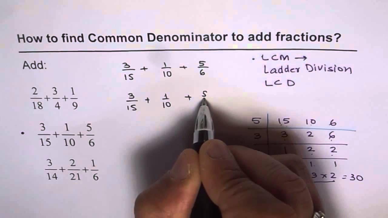 Add Three Fractions with Different Denominators LCM - YouTube [ 720 x 1280 Pixel ]