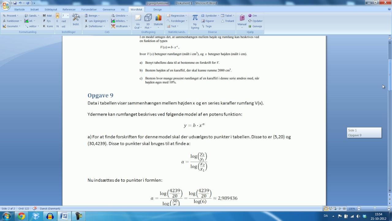 Skriftlig eksamen Mat B - 15.August 2012 Opgave 9