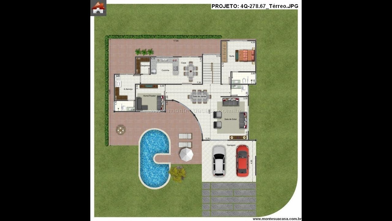 Projetos de sobrados de 4 quartos - Planos de casas minimalistas ...