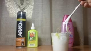 Лизун из пены для бритья, и клея ПВА,  шампуня,соды (без натрия тетрабората и борной кислоты)