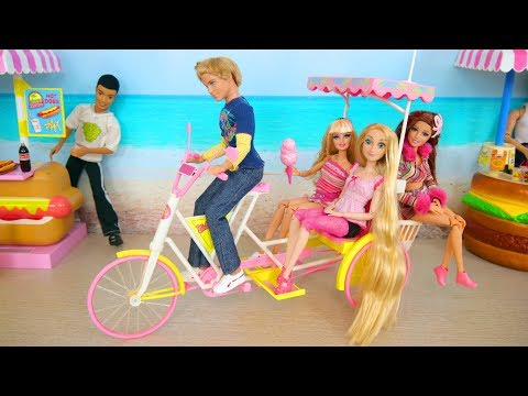 Doll Bike Trailer ; Barbie Beach Taxi Poup茅e Barbie V茅lo de plage Strand Fahrrad Boneka Sepeda