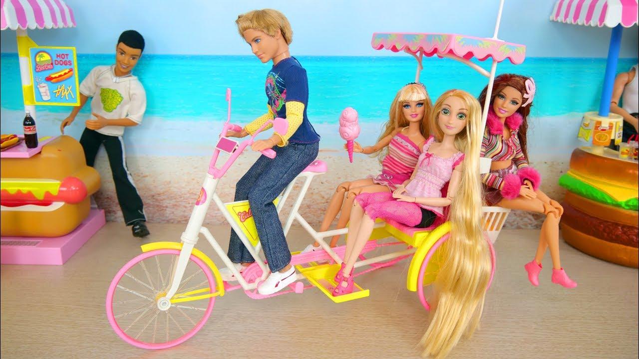 Doll Bike Trailer ; Barbie Beach Taxi Poupée Barbie Vélo