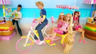 Doll Bike Trailer ; Barbie Beach Taxi Poupée Barbie Vélo de plage Strand Fahrrad Boneka Sepeda