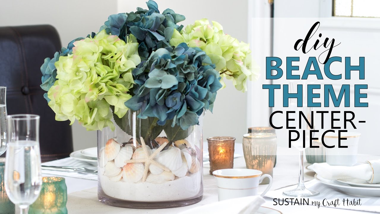 diy beach theme centerpiece coastal wedding bridal