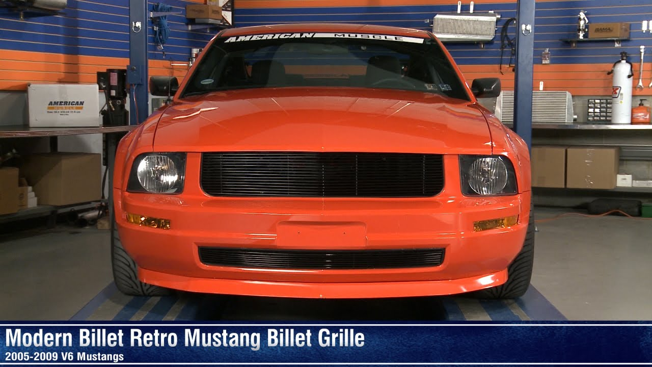 Mustang black and polished retro billet grille 05 09 v6 review youtube