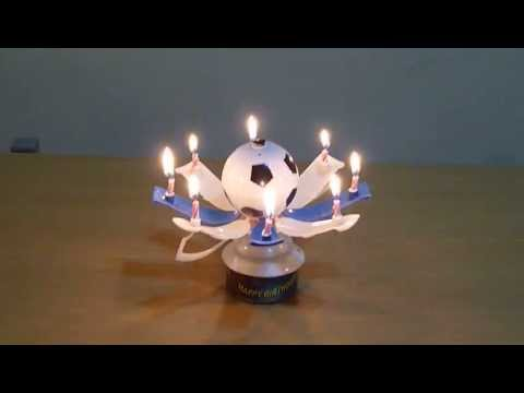 Soccer-Football Trophy cup Musical Sparkling Birthday Candle Cake Topper