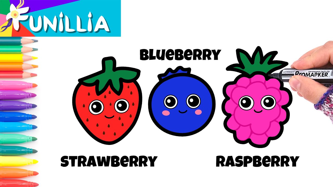 let's draw & color cute cartoon berries  tutorial for