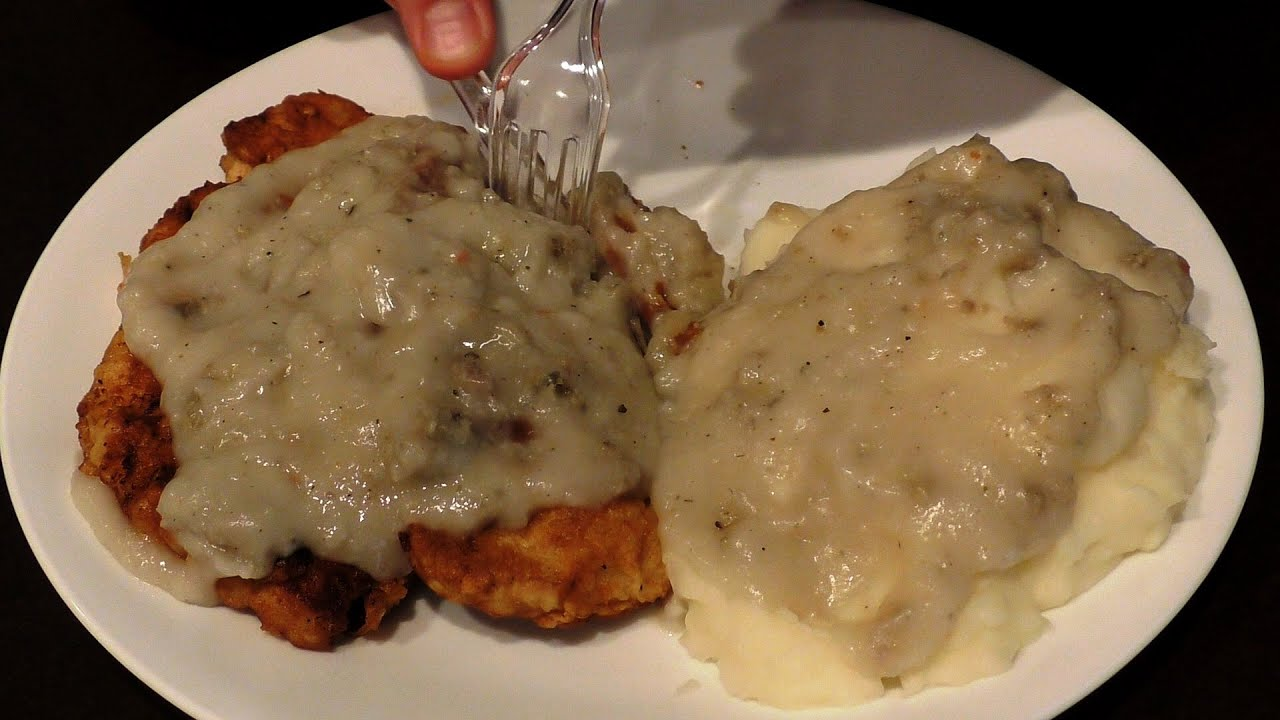 Asmr Eating Chicken Fried Chicken Mashed Taters Covered In Sausage Gravy No Talking
