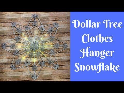 Dollar Tree Christmas Crafts: Dollar Tree Clothes Hanger Snowflake