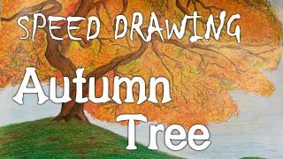 """Speed drawing: """"Autumn Tree"""" - Color pencils"""