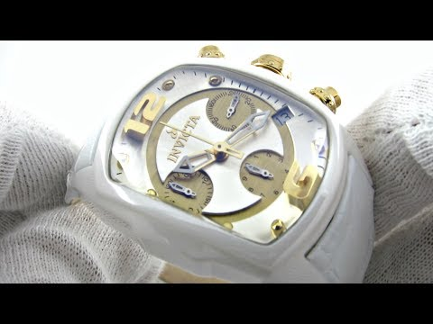 Invicta Lupah Chronograph Leather Strap Gold Chronograph Watch 0311