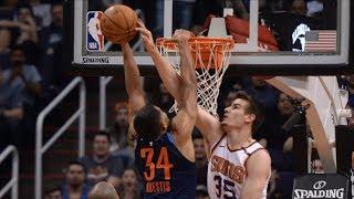 Suns Defeat Thunder! Steven Adams 1 Handed Oop! 2017-18 Season