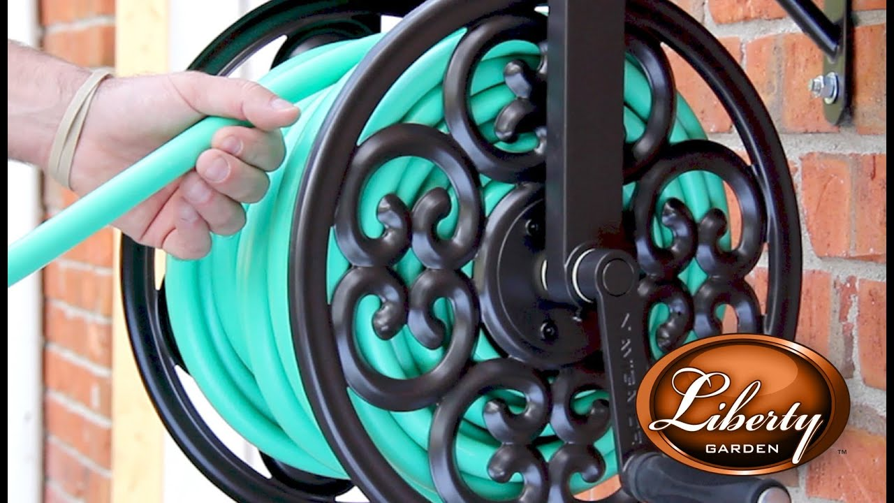 Liberty Garden Wall Mounted Navigator Hose Reel   YouTube
