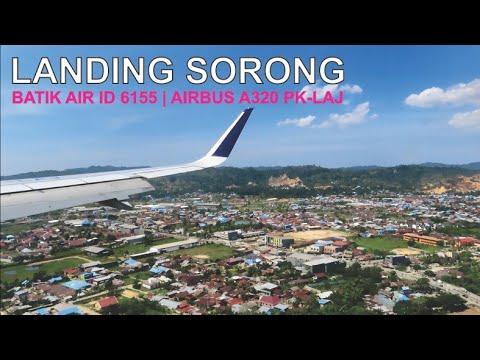 Batik Air Landing Sorong, Pesawat Airbus A320 PK-LAJ Rute Manokwari - Sorong ID 6155 - DEO Airport