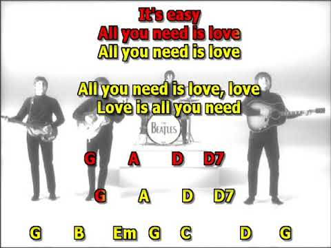 All you need is Love Beatles best karaoke instrumental lyrics chords