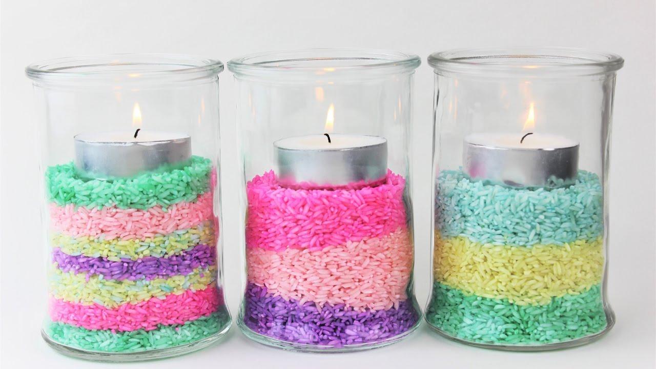 Glass Lantern with Colored Rice - lanterns decor - diy