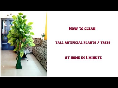 How to clean tall artificial plants / trees in 1 minute   Easy way to clean a tall plant at home