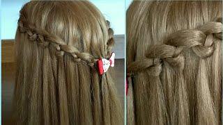 Прическа с распущенными волосами собранными в косы Hairstyle with loose hair tied in braids coafuri