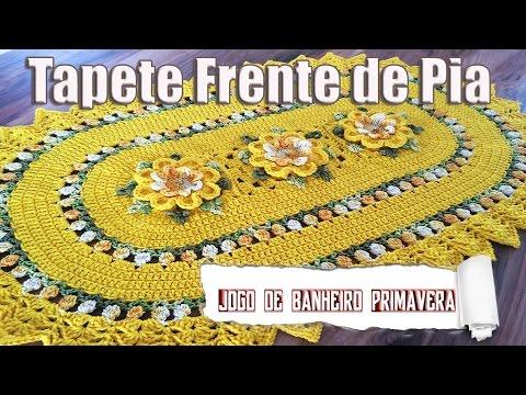 JOGO DE BANHEIRO PRIMAVERA - Tapete Frente de Pia 1/4 por Neila Dalla Costa