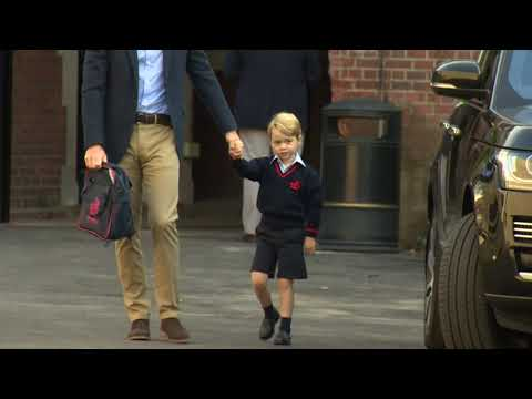 Shy Prince George starts first day of school