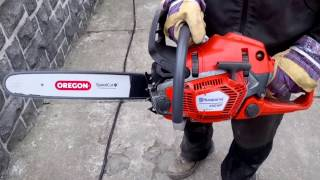 Chainsaw Husqvarna 550 XP with a saw chain and bar Oregon SpeedCut for ultra thin and fast cutting!