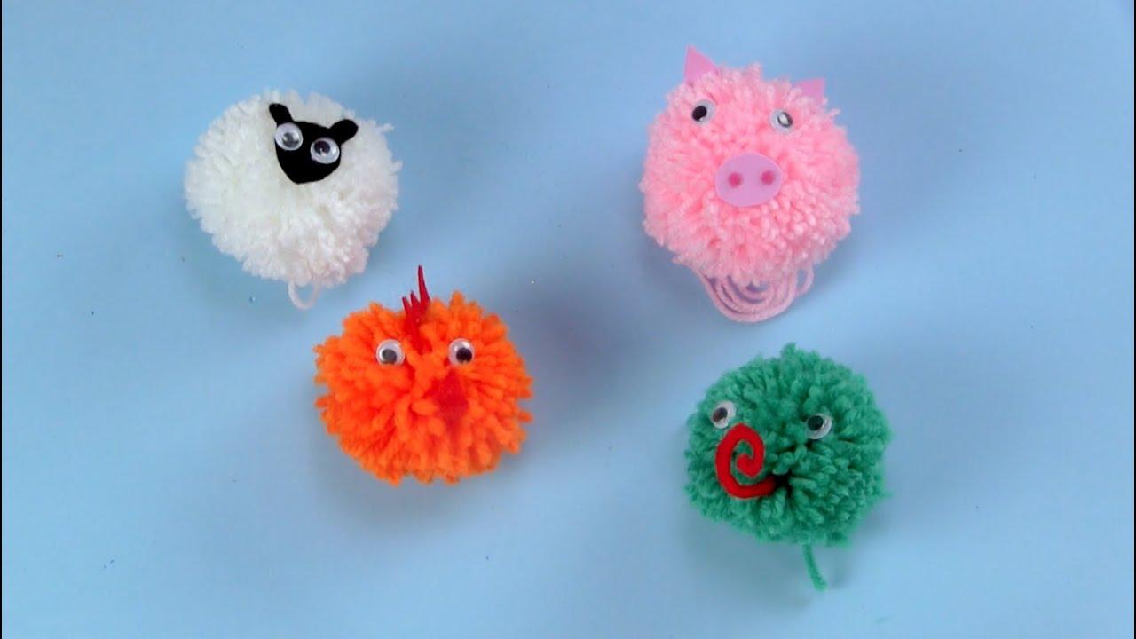 C mo crear unos pompones de animales paso a paso youtube - Como hacer pompones ...