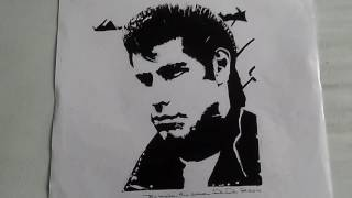 Ink drawing of John Travolta as Danny Zuko from grease.