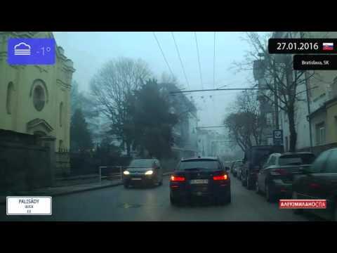Driving through Bratislava (Slovakia) 27.01.2016 Timelapse x4