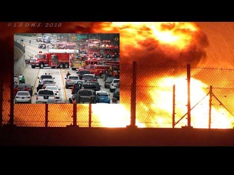LACountyFD / Gasoline Tanker Fire / 105 Freeway - Hawthorne California / CHP Handle