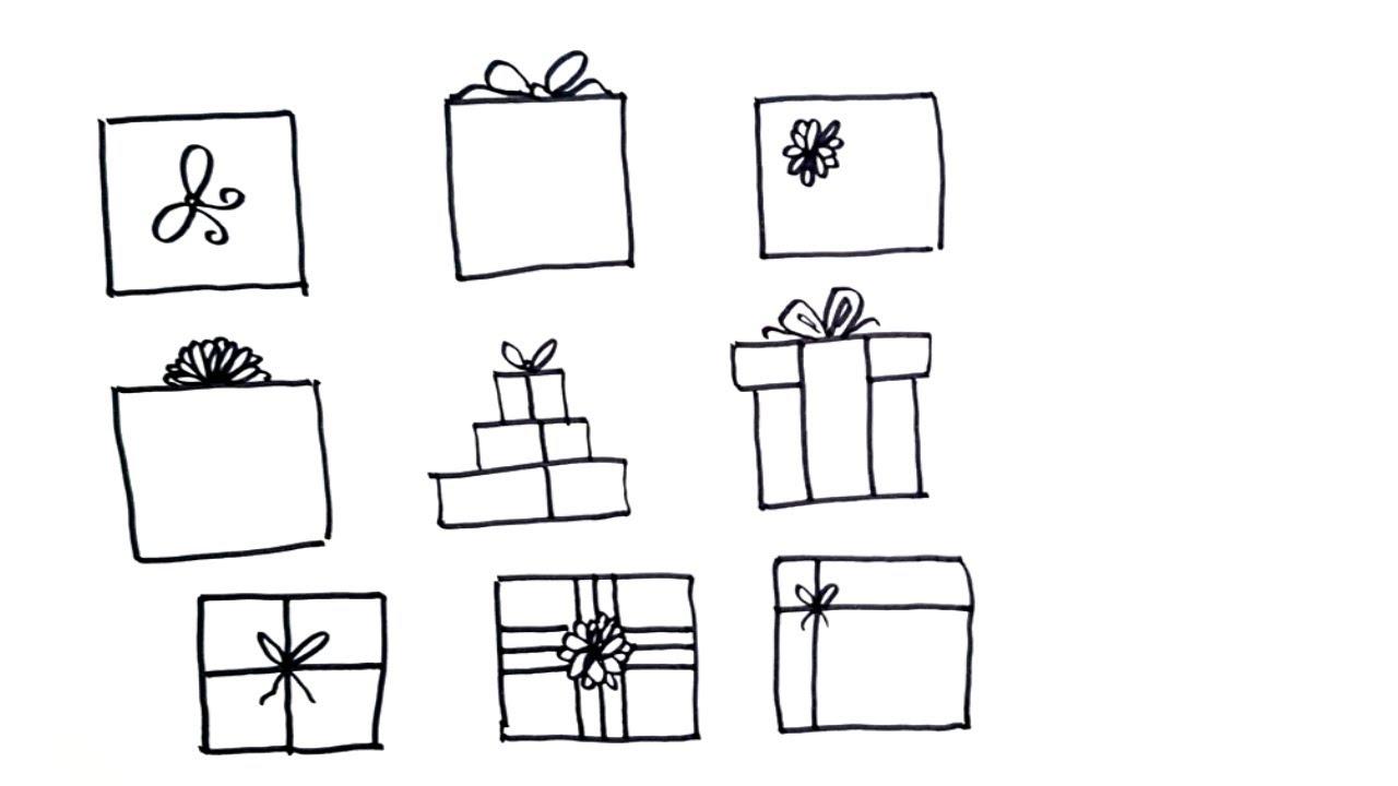 Картинки подарок карандашом поэтапно