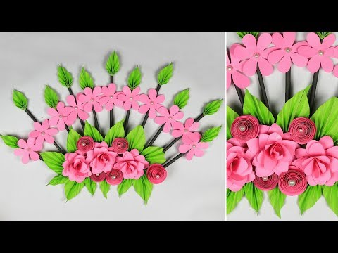 wall-decoration-ideas:-paper-flower-wall-hanging-|-craft-ideas-for-home-decor
