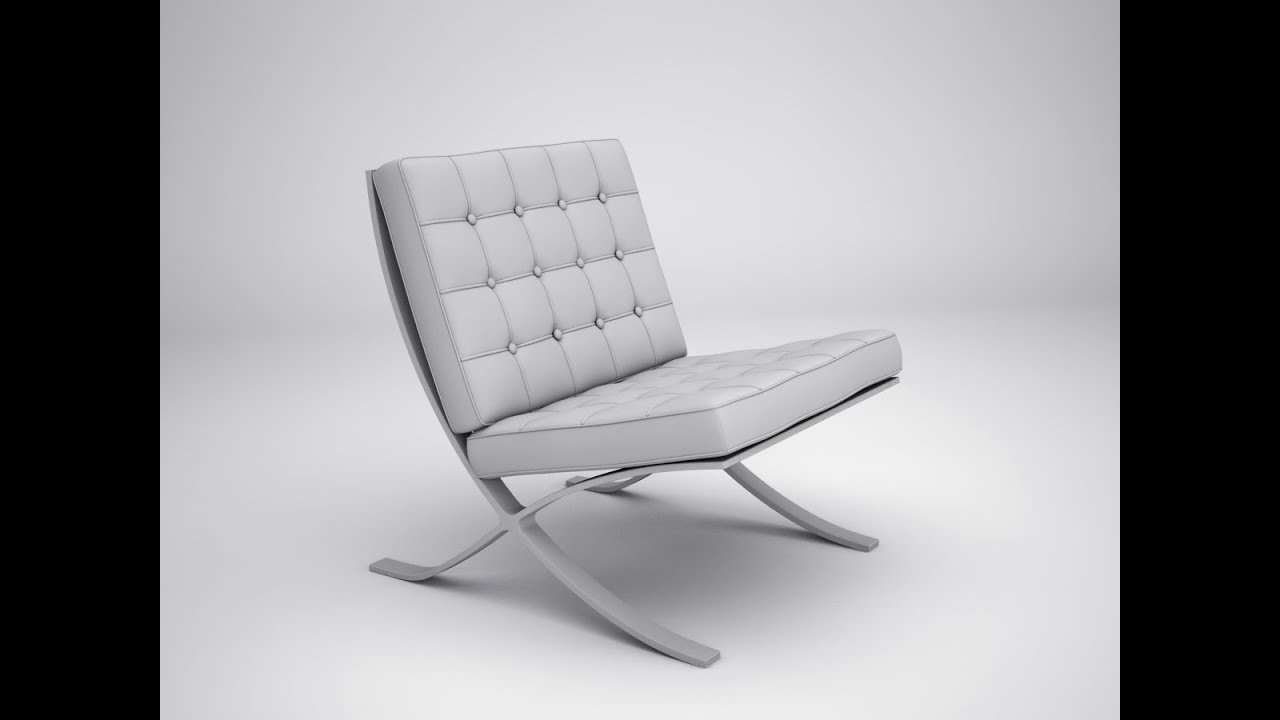 3ds max for architecture by 3dman bacelona chair youtube for Chair design basics