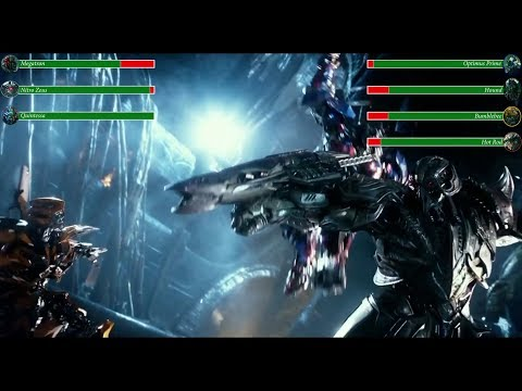Decepticons vs Autobots with health bars (Transformers 5)
