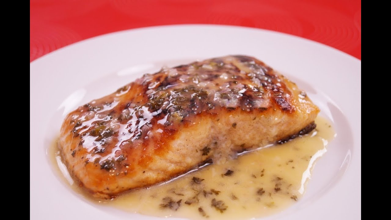 7d27070285d8 Seared Salmon With Lemon Butter Sauce - Pan Seared Salmon Recipe - Dishin   With Di   133
