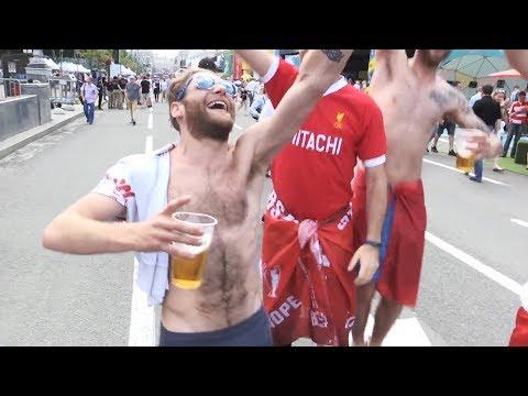 Liverpool Fans Arrive In Kiev For Champions League Final - Interviews