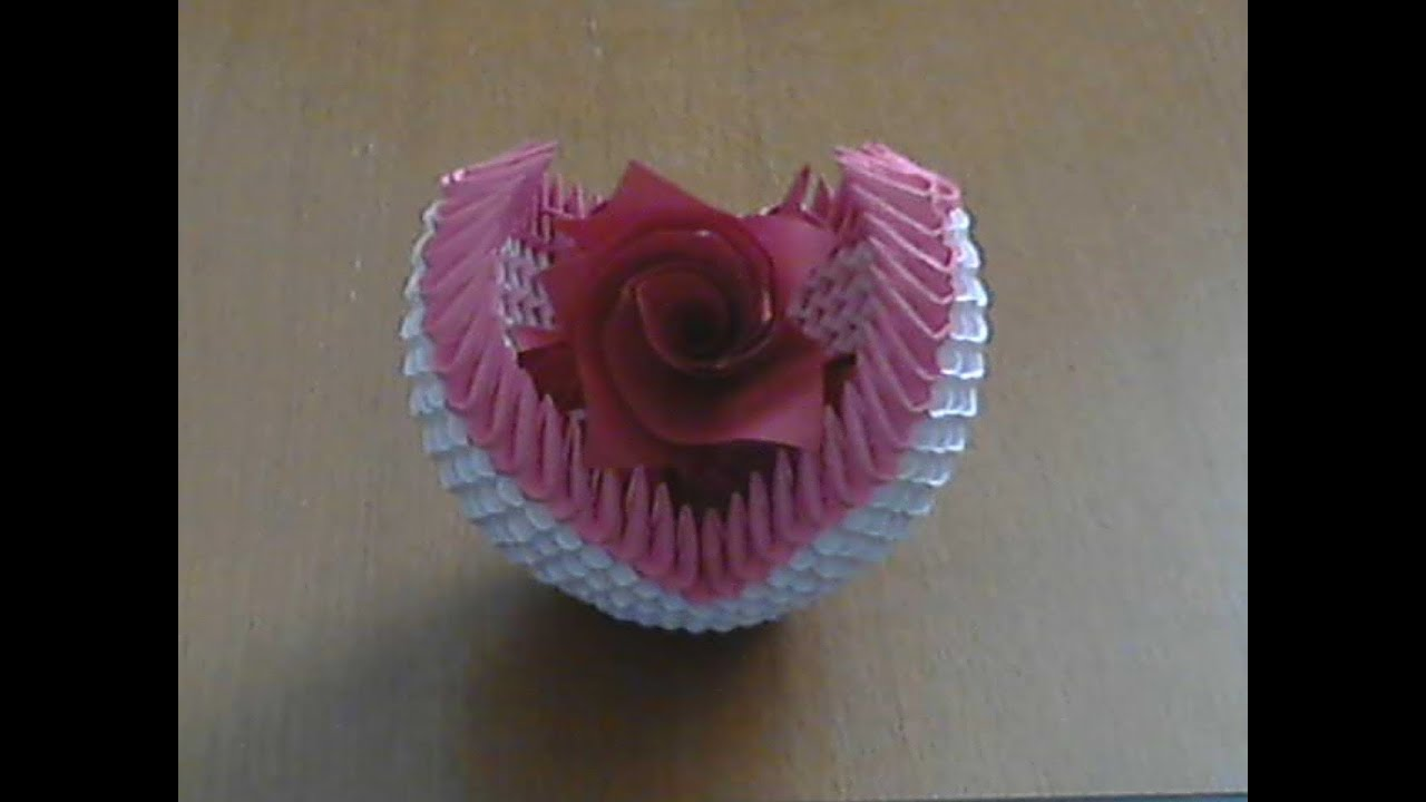 How to make 3d origami small basket with flower youtube how to make 3d origami small basket with flower mightylinksfo