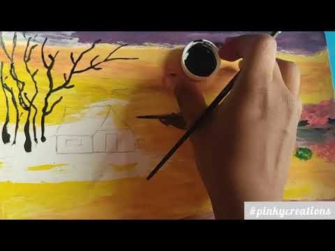 Nature scenery painting || acrylic painting on canvas ||  acrylic painting tutorial