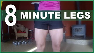 8 Minute Leg Strength Workout w/ Dumbbells - Home Fitness Workout