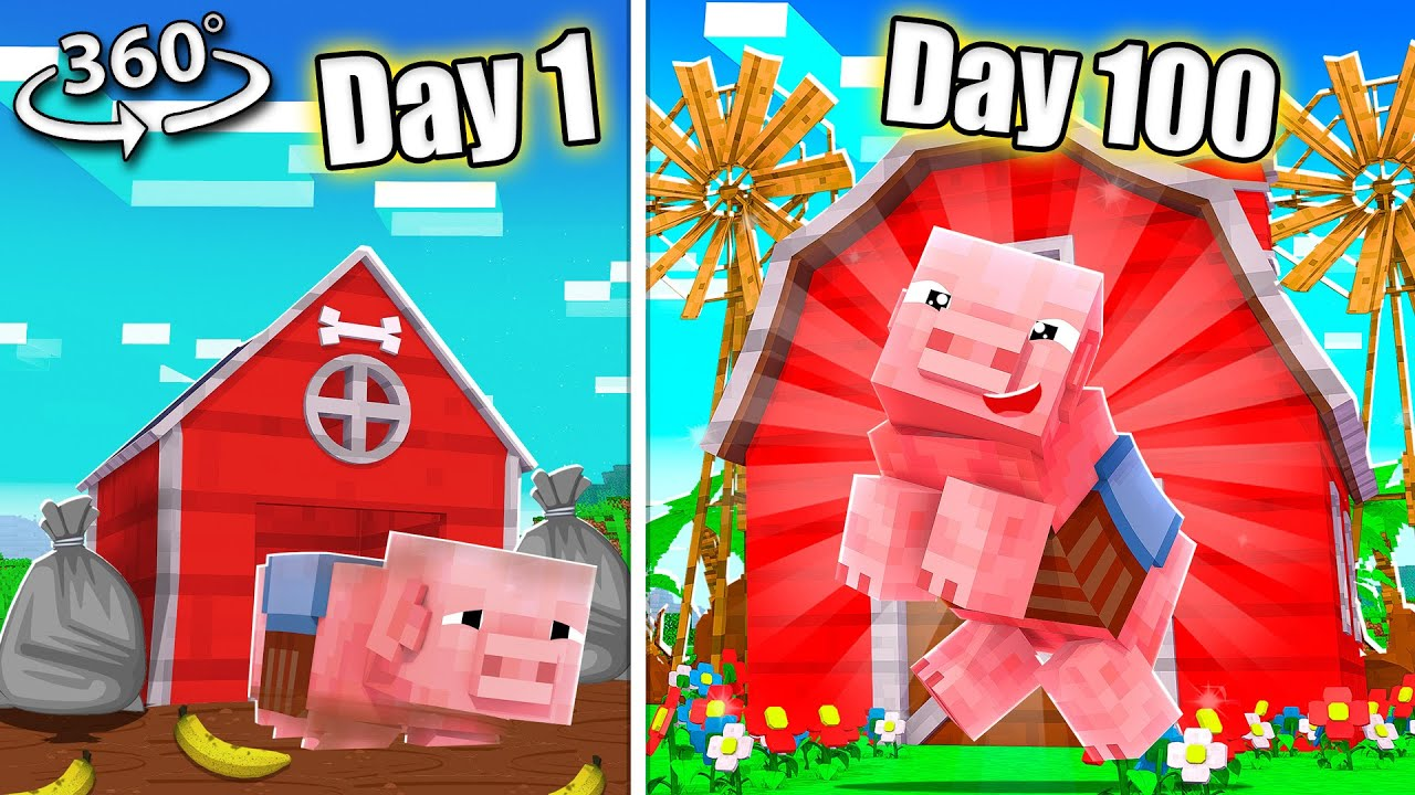 Can YOU Survive 100 Days as a PIG in Minecraft 360!