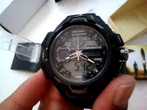 cfa78057cc8 Relógio Masculino Mormaii MO1028B 8K Acqua Pro Anadigi Preto - YouTube