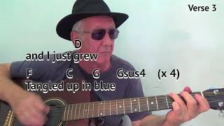 Tangled Up In Blue (G) - Bob Dylan cover - easy chord guitar lesson - on-screen chords and lyrics