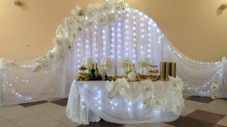 Украшение свадьбы большие белые цветы