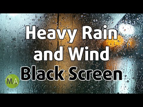 Heavy Rain And Wind Sounds Black Screen - 10 Hours Of Countryside Rain For Sleep