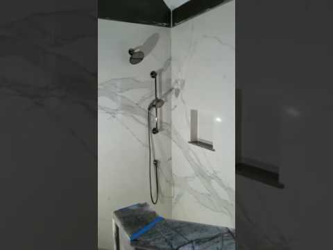 Stile Porcelain slab shower wall Installation - YouTube