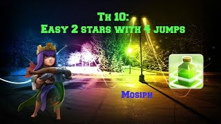 Clash of Clans: TH 10 Easy 2 Stars with 4 Jump Spells #107