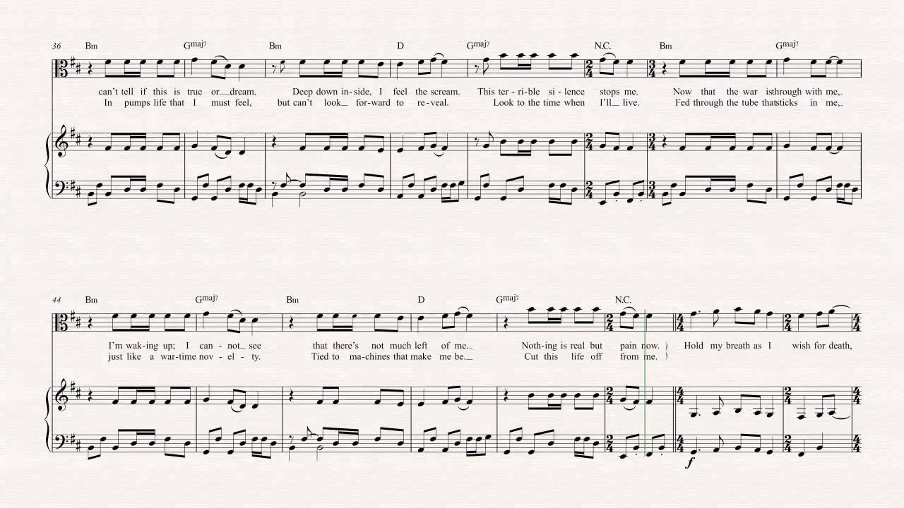 Viola one metallica sheet music chords vocals youtube hexwebz Images