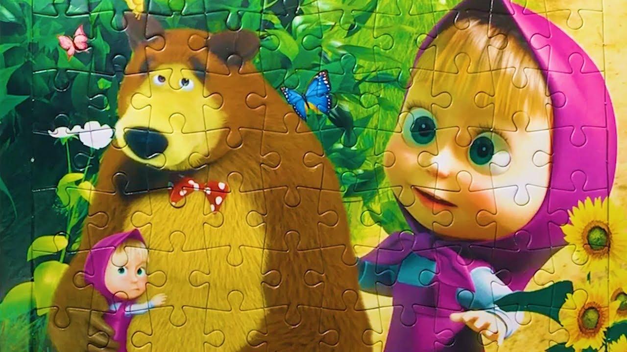картинка маша и медведь для крупных пазлов распечатать которому январе